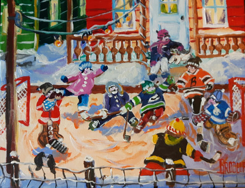 A painting of children playing ice hockey
