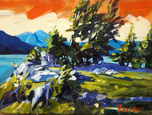 A landscape painting of a Vancouver Island shore