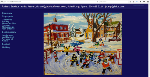 The front page of Richard Brodeur's art website