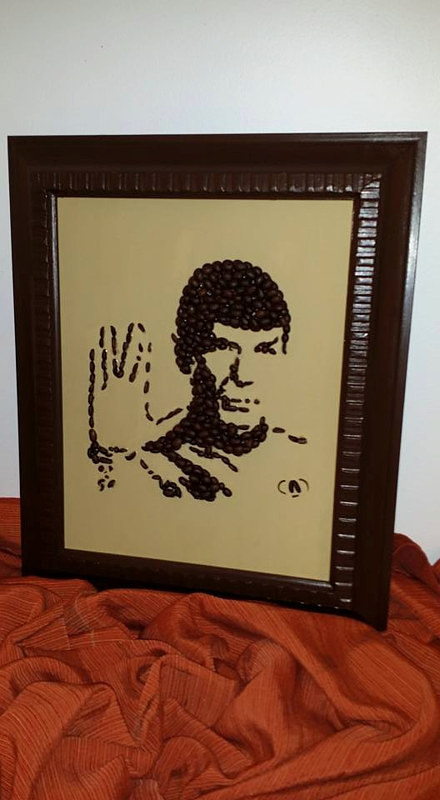 A portrait of Mr. Spock from Star Trek made with coffee beans