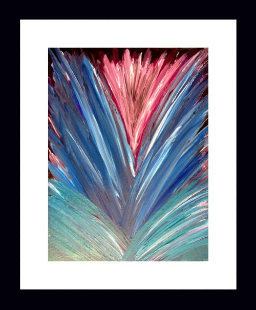 An abstract acrylic painting with blue and pink tones