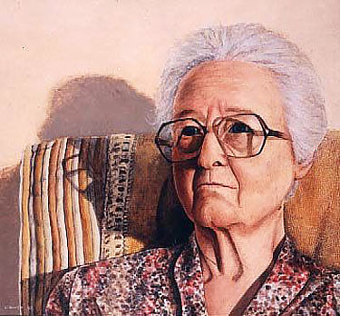 A painting of an old woman