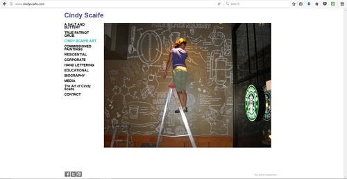 A screen capture of Cindy Scaife's art website