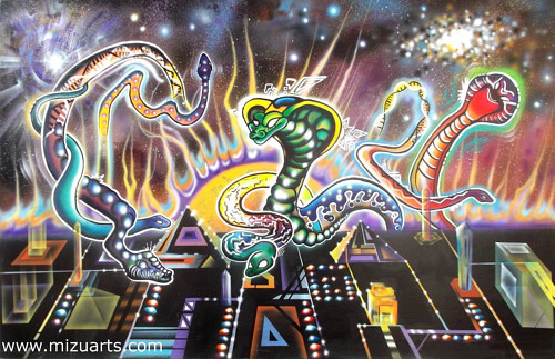 A painting of three serpents on a strange psychedelic background