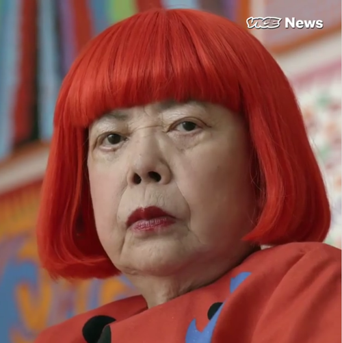 A screen capture from a Vice video on Yayoi Kusama