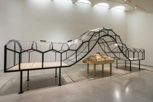 A photo of Huang Yong Ping's Theatre of the World installed at the Guggenheim sans bugs
