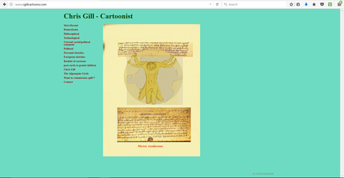 A screen capture of the front page of Chris Gill's art website