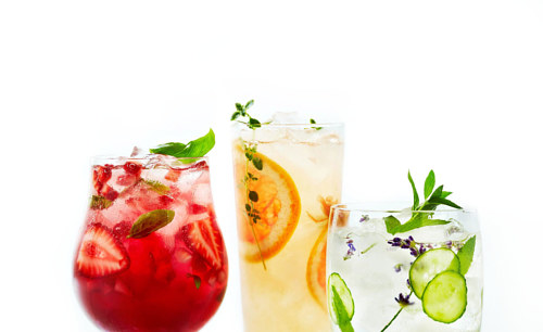 A photograph of some fruity cocktails