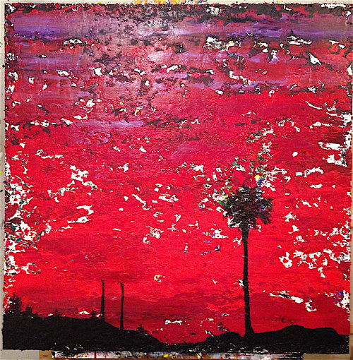 A painting of a red sky with black silhouetted trees