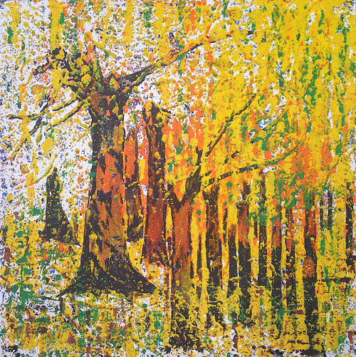 A painting of a forest in yellow tones