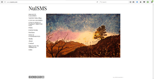 A screen capture of Jeffrey Newman's art website