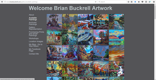 The gallery of available paintings on Brian Buckrell's art website