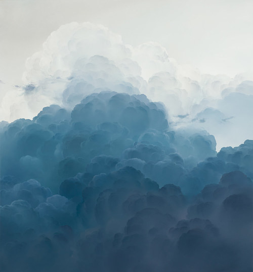 A painting of clouds in blue and white tones