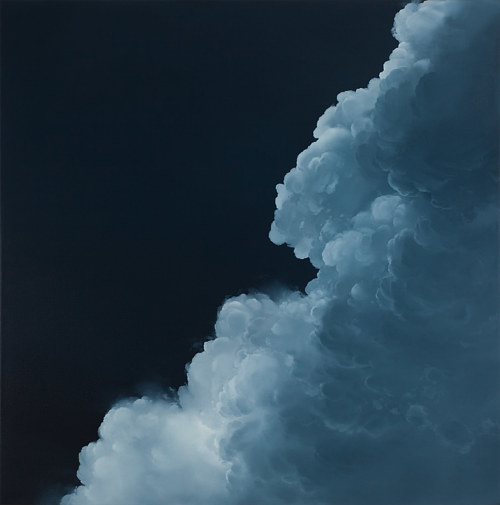 A painting of a blue cloud on a black background