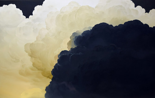 A painting depicting clouds in light and shadow