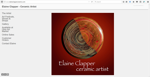 A screen capture of Elaine Clapper's art website