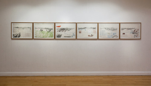 An installation view of a series of works on the Sierra Nevada