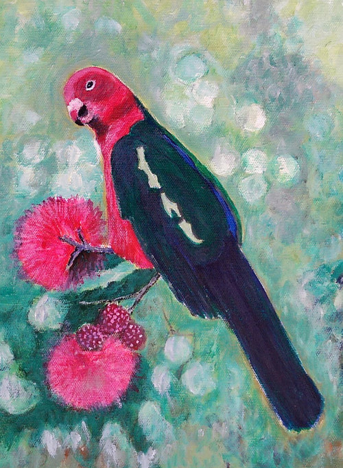 A painting of an Australian king parrot