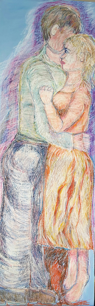 A painting of two people in an embrace