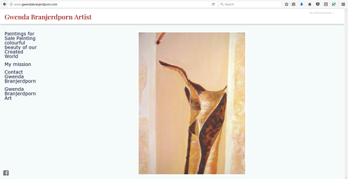 A screen capture of Gwenda Branjerdporn's art website