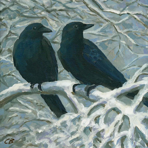 An art print of two crows on a snowy branch