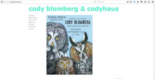 A screen capture of Cody Blomberg's art website