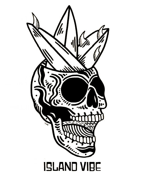 An illustration of a surf skull