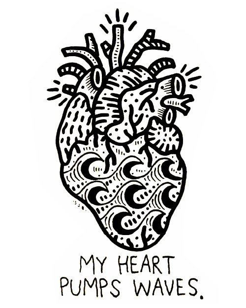 A drawing of a heart with text and surf