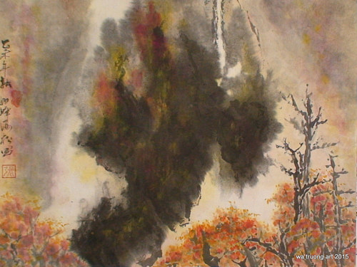 A painting of a fiery forest