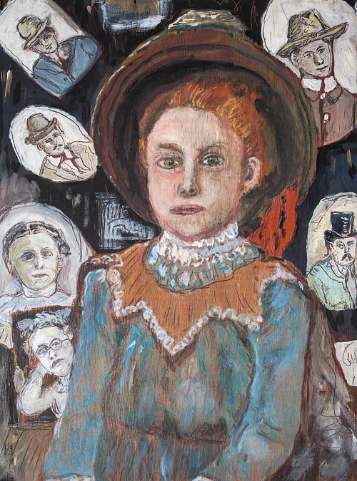 A painting of a red-head girl in outdated dress