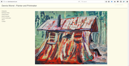 A screen capture of Dennis Worrel's art website