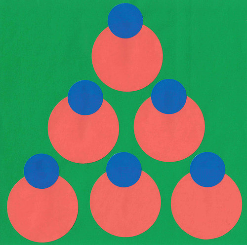 Painting of red and blue spheres on gree background