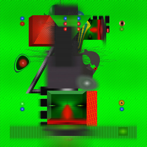 An abstract digital figure on a futuristic green background