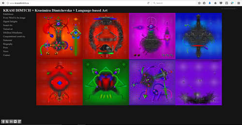 A screen capture of Krasimira Dimtchevska's art website