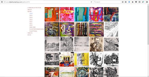 A screen capture of a gallery on Dylan Humphries' art website