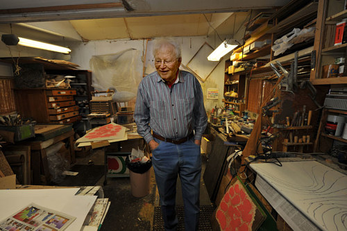 A photograph of Charles Beck in his studio