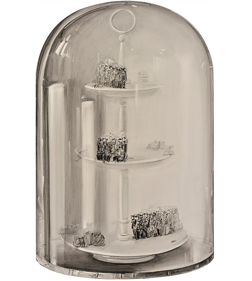 A painting of a clear glass container