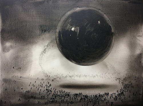A painting of an abstract sphere over numerous small figures