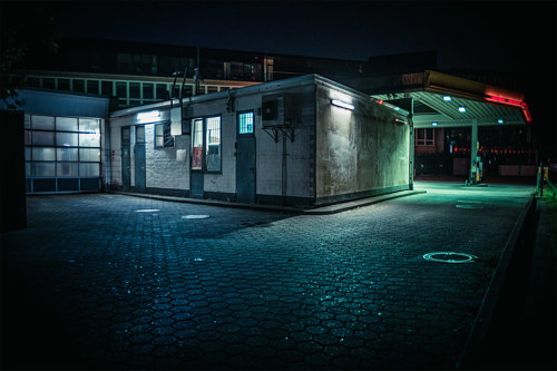A photo of a darkened parking area in Hamburg, Germany