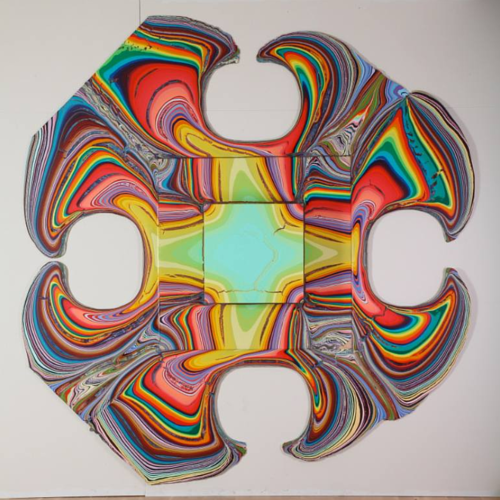 A flat painting by Holton Rower installed in a gallery space