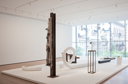 An installation view of Carol Bove's sculptures