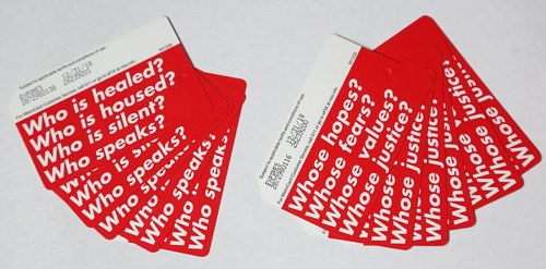 A photo of NY subway cards designed by Barbara Kruger