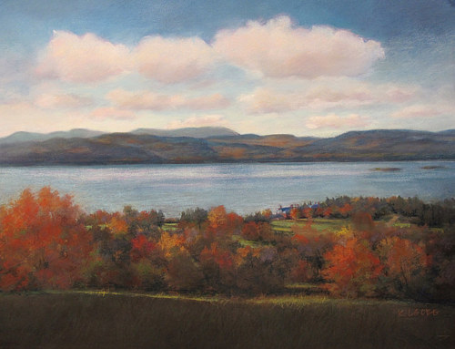 A pastel drawing of a Vermont landscape with autumn trees