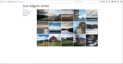 A screen capture of Jess Kilgore's art portfolio website