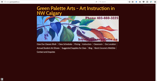A screen capture of the Green Palette Arts website