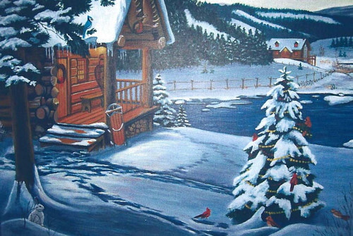 A painting of a snowy scene at night