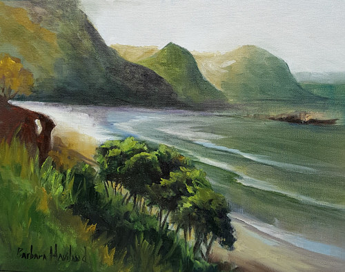 An oil painting of a seaside bay