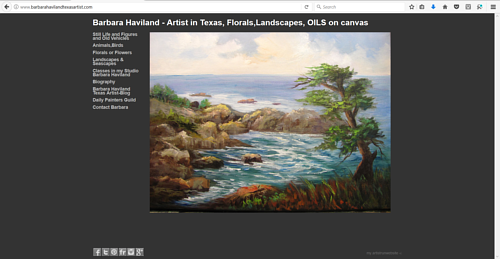 The front page of Barbara Haviland's art website