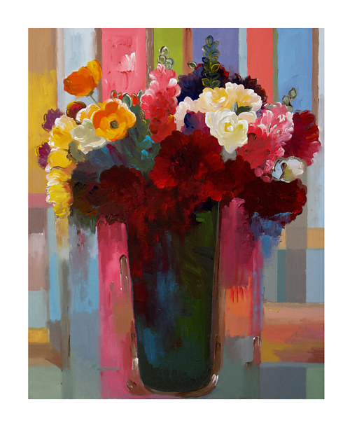 A painting of a vase of flowers in bright colors