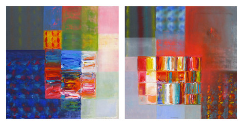 A photo of a painted diptych of abstract geometric compositions